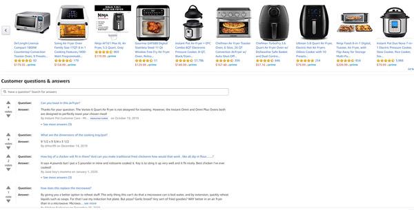 Ответы на вопросы клиентов на сайте Amazon